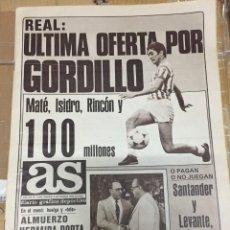 Coleccionismo deportivo: AS (5-9-1980) OFERTA GORDILLO BETIS REAL MADRID AGUINAGA ATLETICO MADRID 50 AÑOS DE LA LIGA. Lote 263670845