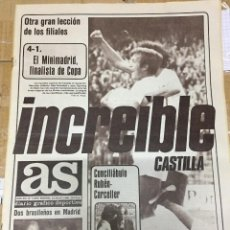 Coleccionismo deportivo: AS(23-5-1980)FINAL COPA CASTILLA REAL MADRID RUBIO ATLETICO MADRID MORENA AGUIRREOA ITALIA HAVELANGE. Lote 264296004