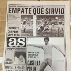 Coleccionismo deportivo: AS (22-5-1980) FINAL COPA UEFA BORUSSIA MÖNCHENGLADBACH EINTRACHT FRANKFURT ANERO RAYO BENEGAS. Lote 264296168