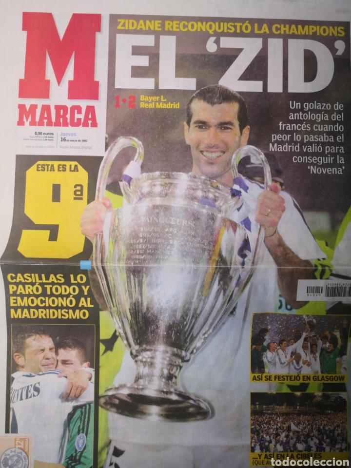 DIARIO MARCA - REAL MADRID CAMPEÓN NOVENA COPA DE EUROPA. 16 MAYO 2002. ZIDANE. (Coleccionismo Deportivo - Revistas y Periódicos - Marca)
