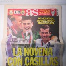 Coleccionismo deportivo: DIARIO AS - REAL MADRID CAMPEÓN NOVENA COPA DE EUROPA. 16 MAYO 2002. ZIDANE. CASILLAS. 11.152. Lote 265718314