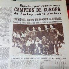 Colecionismo desportivo: ESPAÑA CAMPEON HOCKEY PATINES 1957. Lote 265938698