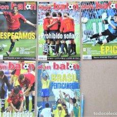 Collezionismo sportivo: LOTE 5 REVISTAS DON BALON DURANTE MUNDIAL 2002 WORLD CUP COREA SUR & JAPON BRASIL CAMPEON LOT11. Lote 265969448