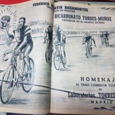 Coleccionismo deportivo: ANTIGUA PUBLICIDAD LABORATORIOS TORRES MUÑOZ HOMENAJE A BAHAMONTES. Lote 266569033
