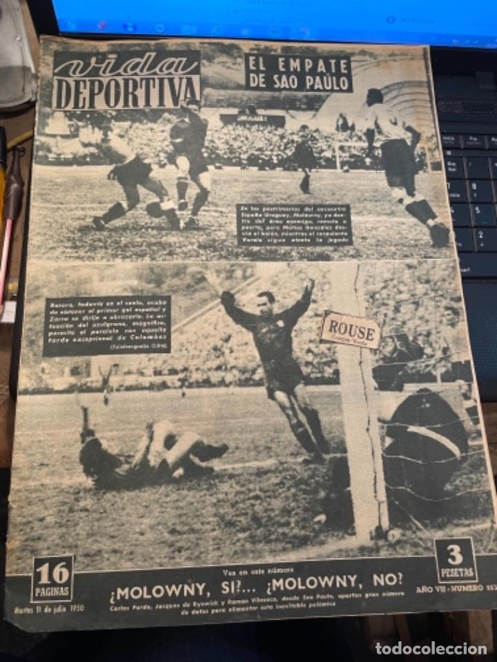 ANTIGUA REVISTA - VIDA DEPORTIVA -11-7-1950-AÑO VII - N 253- SELECCION ESPAÑOLA URUGUAY 2 ESPAÑA 2 (Coleccionismo Deportivo - Revistas y Periódicos - Vida Deportiva)