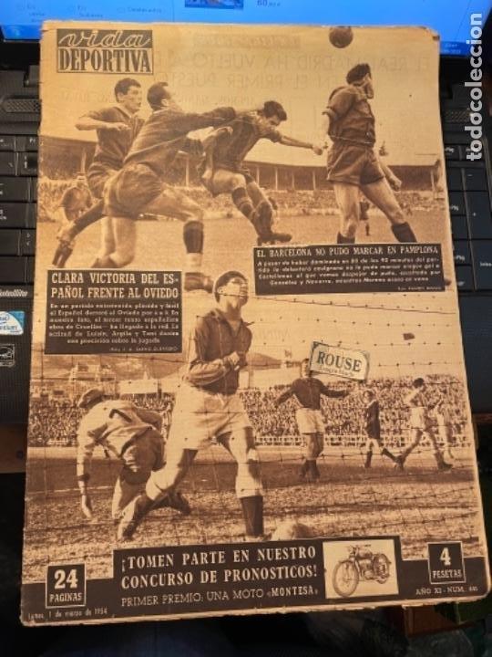 ANTIGUA REVISTA -VIDA DEPORTIVA - 1-3-54 AÑO XI N.441 - ESPAÑOL 4 OVIEDO 0 -OSASUNA 1 BARCELONA 0 (Coleccionismo Deportivo - Revistas y Periódicos - Vida Deportiva)