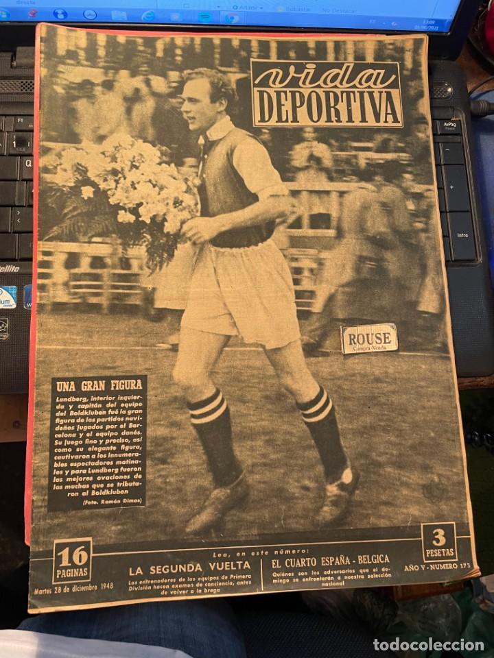 ANTIGUA REVISTA - VIDA DEPORTIVA 28-11-1948 AÑO V Nº 173 - BARCELONA 1 A. BOLDKLUBEN 1 - BARCELONA 2 (Coleccionismo Deportivo - Revistas y Periódicos - Vida Deportiva)