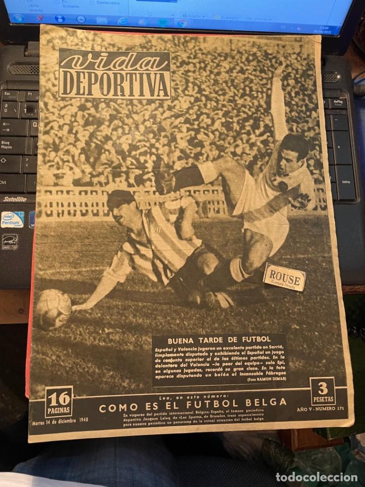 ANTIGUA REVISTA - VIDA DEPORTIVA 14-12-1948 AÑO V Nº 173 - ESPAÑOL 3 VALENCIA 0 OVIEDO 2 BARCELONA 0 (Coleccionismo Deportivo - Revistas y Periódicos - Vida Deportiva)