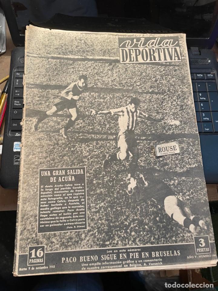 VIDA DEPORTIVA - 9-11-1948 AÑO V Nº 166 - ESPAÑOL 4 CORUÑA 1 AT.MADRID 2 BARCELONA 0 BILBAO 7 SABADE (Coleccionismo Deportivo - Revistas y Periódicos - Vida Deportiva)
