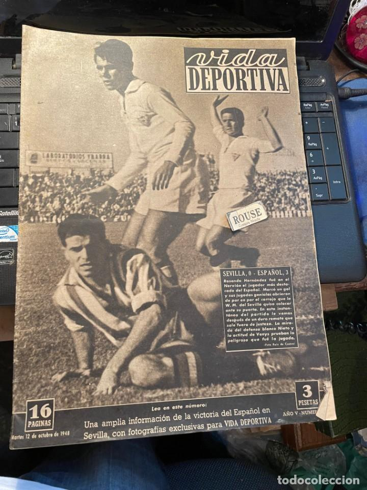 VIDA DEPORTIVA - 12-10-1948 AÑO V Nº 162 - SEVILLA 0 ESPAÑOL 3 BARCELONA 4 ALCOYANO 0 CELTA 3 SABADE (Coleccionismo Deportivo - Revistas y Periódicos - Vida Deportiva)