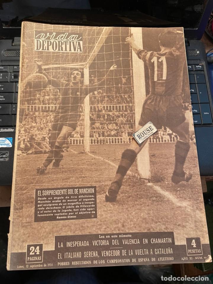 VIDA DEPORTIVA - 13-8-1954 AÑO XI Nº 469 - BARCELONA 4 SEVILLA 2 SANTANDER 3 ESPAÑOL 1 CICLISMO VUEL (Coleccionismo Deportivo - Revistas y Periódicos - Vida Deportiva)
