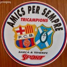 Coleccionismo deportivo: PEGATINA BARÇA TRICAMPIONS. AMICS PER SEMPRE. BARÇA & TENERIFE. DIARIO SPORT. Lote 273349998