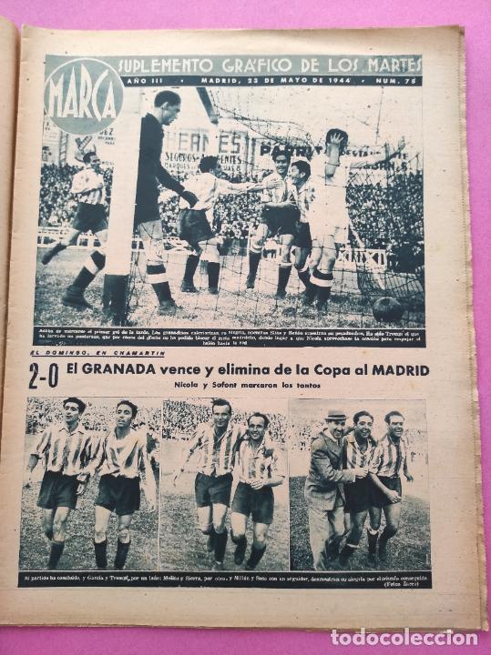Coleccionismo deportivo: PERIODICO MARCA Nº 78 1944 COPA GRANADA ELIMINA AL REAL MADRID - MURCIA - ALICANTE - SEVILLA - Foto 2 - 275130443