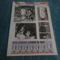 Coleccionismo deportivo: LAMINA REAL MADRID EL MEJOR EQUIPO DEL MUNDO , MARCA, LAMINAS AUTOADHESIVAS. Lote 275684933