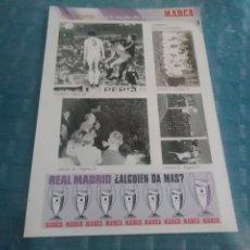 Coleccionismo deportivo: LAMINA REAL MADRID EL MEJOR EQUIPO DEL MUNDO , MARCA, LAMINAS AUTOADHESIVAS. Lote 275685028
