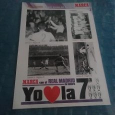 Coleccionismo deportivo: LAMINA REAL MADRID EL MEJOR EQUIPO DEL MUNDO , MARCA, LAMINAS AUTOADHESIVAS. Lote 275685143