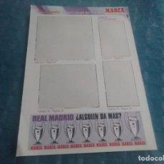 Coleccionismo deportivo: LAMINA REAL MADRID EL MEJOR EQUIPO DEL MUNDO , MARCA, LAMINAS AUTOADHESIVAS. Lote 275685273