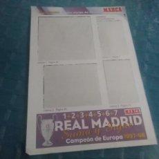 Coleccionismo deportivo: LAMINA REAL MADRID EL MEJOR EQUIPO DEL MUNDO , MARCA, LAMINAS AUTOADHESIVAS. Lote 275685358