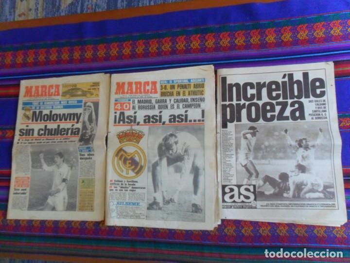 DIARIO AS MARCA COPA UEFA 1985 1986 REAL MADRID BORUSSIA MOENCHENGLADBACH 4 0. REGALO ANDERLECHT 6 1 (Coleccionismo Deportivo - Revistas y Periódicos - Marca)