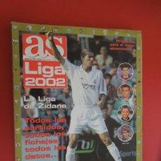 Coleccionismo deportivo: AS LIGA 2002 - LA LIGA DE ZIDANE - AGOSTO 2001- TODOS LOS PARTIDOS TODOS LOS FICHAJES, TODOS LOS DAT. Lote 279528248