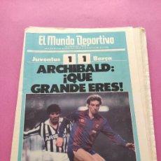 Coleccionismo deportivo: DIARIO EL MUNDO DEPORTIVO 1986 BARÇA JUVENTUS COPA EUROPA 85/86 - POSTER BASKET CAMPEON RECOPA. Lote 281859113