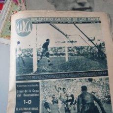 Coleccionismo deportivo: PERIÓDICO MARCA 22 DE JUNIO 1943. ATLÉTIC CAMPEÓN COPA GENERALÍSIMO. POSTER CENTRAL. Lote 284039378