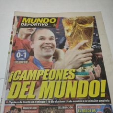 Coleccionismo deportivo: PERIÓDICO MUNDO DEPORTIVO ESPAÑA CAMPEONA DEL MUNDO 12 JULIO 2010. Lote 284367258