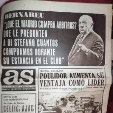 Coleccionismo deportivo: PERIODICO AS (23-3-1972) BERNABEU CELTIC INTER MOSCU BENFICA DINAMO FERENC SZUSZA POULIDOR AJAX. Lote 287373298
