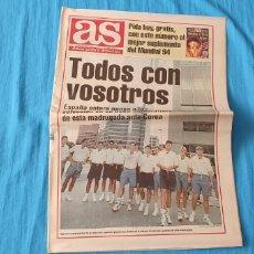 Coleccionismo deportivo: PERIÓDICO DEPORTIVO AS - TODOS CON VOSOTROS - AÑO XXVIII N. 8.587 - 17/06/94. Lote 288644148