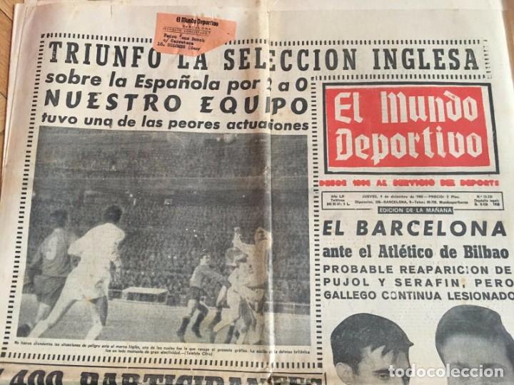 Coleccionismo deportivo: MUNDO DEPORTIVO (8-12-1965)(9-12-1965) ESPAÑA 0-2 INGLATERRA ESTADIO BERNABEU - Foto 3 - 289210543