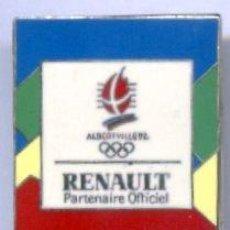 Coleccionismo deportivo: PIN ALBERTVILLE 1992. JUEGOS OLIMPICOS. RENAULT PARTENAIRE OFFICIEL. PIN FRANCES. PINS. OLIMPIADAS.. Lote 26625227