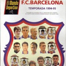 Coleccionismo deportivo: CARTULINA CON 6 PIN PLANTILLA F.C.BARCELONA - TEMPORADA 1994-95 - EL MUNDO DEPORTIVO (28 X 21). Lote 29846421