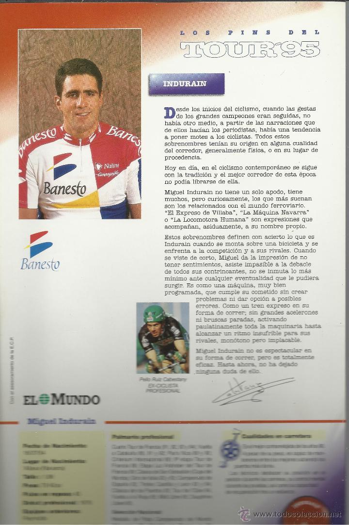 Coleccionismo deportivo: COLECCION COMPLETA EN CARPETA CON LAS FICHAS Y LOS PINS DEL TOUR DEL 95 VER FOTOS - Foto 2 - 45501822