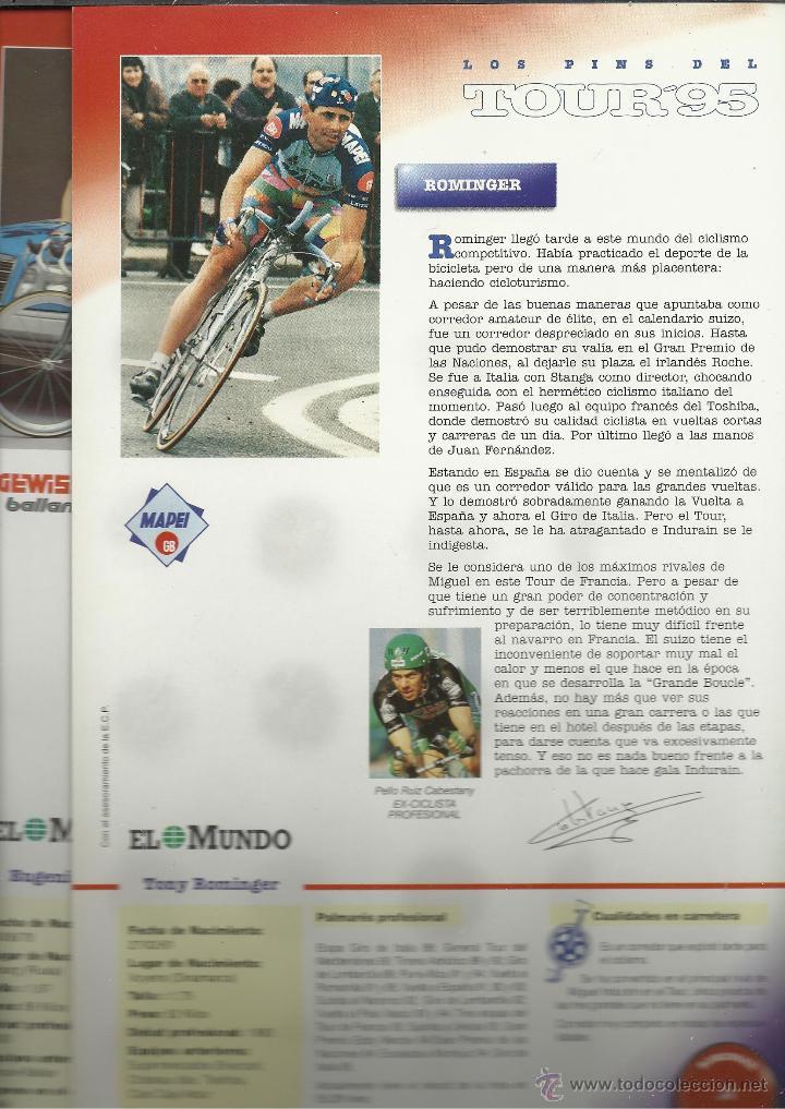 Coleccionismo deportivo: COLECCION COMPLETA EN CARPETA CON LAS FICHAS Y LOS PINS DEL TOUR DEL 95 VER FOTOS - Foto 3 - 45501822