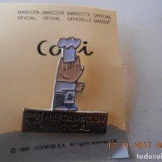 Coleccionismo deportivo: PIN OLIMPIADAS BARCELONA 92 COBI COCINERO RESTAURACION SOCIAL. Lote 103656003