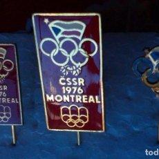 Coleccionismo deportivo: COLECCIÓN DE LAS TRES INSIGNIAS DEL COMITÉ OLÍMPICO CHESCOSLOVACO MONTREAL 1976. Lote 112811107