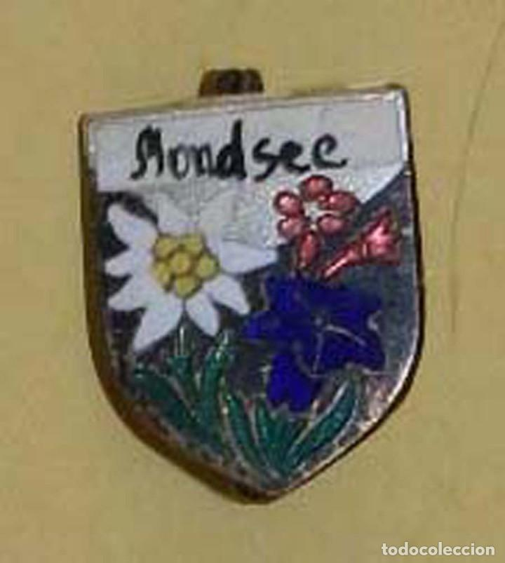 INSIGNIA ESCUDO HERÁLDICO DE MONDSEE (AUSTRIA), MIDE 1,5 CMS. DE LONGITUD (Coleccionismo Deportivo - Pins otros Deportes)