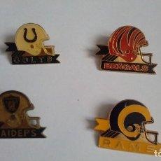 Coleccionismo deportivo: PINS NFL OAKLAND RAIDERS Y INDIANAPOLIS COLTS, ATLANTA FALCONS Y ARIZONA CARDINALS. Lote 115609443