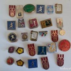 Coleccionismo deportivo: INSIGNIA DEPORTE URSS. ATLETISMO. GIMNASIA. HALTEROFILIA. URSS. LOTE 27 UD.. Lote 186065066