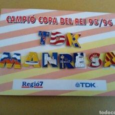 Coleccionismo deportivo: CARTON COLE PINS CAMPIO COPA DEL REI 95 96 TDK MANRESA BALONCESTO BASQUET REGIO 7. Lote 206887563