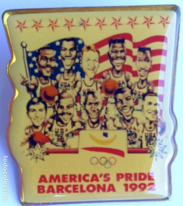 PIN EQUIPO BALONCESTO EE UU OLIMPIADA BARCELONA 1992. DREAM TEAM. AMERICA'S PRIDE. ORIGINAL. (Coleccionismo Deportivo - Pins otros Deportes)