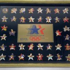 Coleccionismo deportivo: OLIMPIADA LOS ANGELES 1984 (XXIII OLIMPIADA). COLECCION DE 38 PINS DEPORTES OLIMPICOS CON MASCOTA.. Lote 209210680