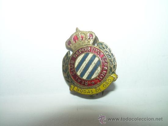 ANTIGUA Y RARA INSIGNIA....R.C.D. ESPAÑOL.....BODAS DE ORO (Coleccionismo Deportivo - Pins de Deportes - Fútbol)