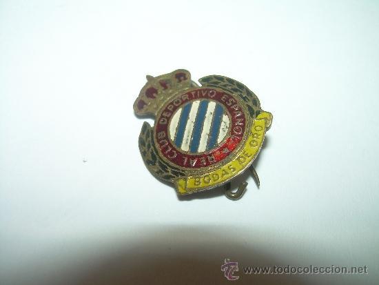 Coleccionismo deportivo: ANTIGUA Y RARA INSIGNIA....R.C.D. ESPAÑOL.....BODAS DE ORO - Foto 2 - 32344092