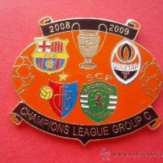 Coleccionismo deportivo: PIN CHAMPIONS LEAGUE 2008 2009 PRIMERA FASE F C BARCELONA BARÇA BASILEA SHACKTAR DONESK LISBOA . Lote 33798172
