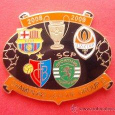 Coleccionismo deportivo: PIN CHAMPIONS LEAGUE 2008 2009 PRIMERA FASE F C BARCELONA BARÇA BASILEA SHACKTAR DONESK LISBOA. Lote 33798247