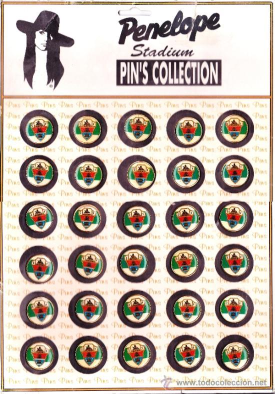 PENELOPE STADIUM PIN´S COLLECTION GRAN HOJA CON 30 PINS DEL ELCHE C.F. (Coleccionismo Deportivo - Pins de Deportes - Fútbol)