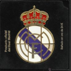 Coleccionismo deportivo: PRECIOSO ESCUDO DEL REAL MADRID COMPUESTO DE 8 PINS BAÑADO EN ORO DE 24 K.PRODUCTO OFICIAL DEL R. M.. Lote 254785550