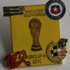 Coleccionismo deportivo: PIN DE FUTBOL COPA MUNDIAL SUDAFRICA 2010 PRIMERA FASE ESPAÑA SUIZA CHILE HONDURAS GRUPO H SELECCION. Lote 136717889