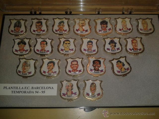 COLECCION COMPLETA DE 20 PINS - PLANTILLA F.C.BARCELONA TEMPORADA 1994-1995 EN CAJA ORIGINAL (Coleccionismo Deportivo - Pins de Deportes - Fútbol)